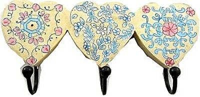 Vintage Style Shabby Chic Wooden Handmade Hearts Wall Hat/coat 3*hook Rack 26Cm