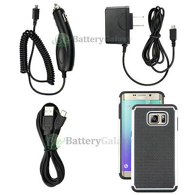 Micro Wall+Car Charger+6FT USB Cable+White Case for Samsung Galaxy S6 Edge Plus