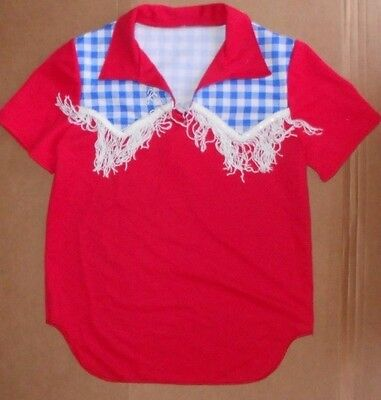 NWT Country Western Dance Costume Fringed Shirt Red Blue/White Gingham boys Med
