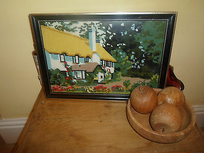 Fabulous Good Rustic Country Cottage Tapestry ~ Framed Behind Glass Wall Hanging