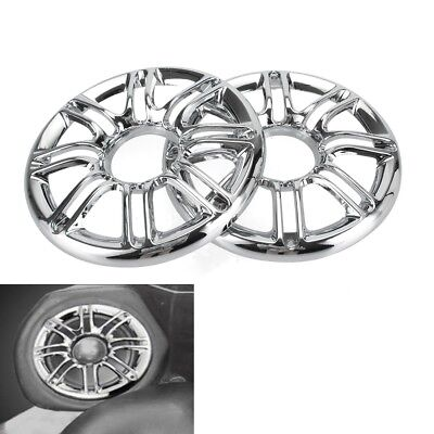 Chrome 3d Round Rear Speaker Grill Cover For Harley Touring Electra Glide 96 14