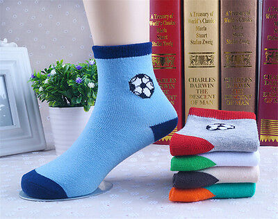 5 Pairs Packed Boy Girl Football Children Cotton mid-calf Socks for 3-12 years