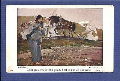 Old HOLY CARD sowing SEEDS with ANGELS and Horse Drawn PLOW
