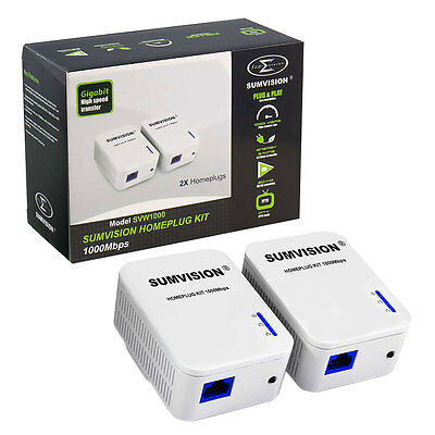 Sumvision High Speed Gigabit 1000mbps Ethernet Powerline Homeplug Twin Pack