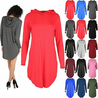 Ladies Womens Curved Hem Hoodies Plain Loose Baggy Long Sleeves Dress Plus Size