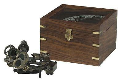 G504: Large Mirror Sextant in Bronze, Navy Sextant in Rosewood Wooden box