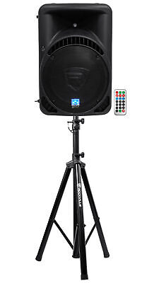 "Rockville RPG15BT 15"" Powered 1000W DJ PA Speaker BlueTooth,USB,SD,Remote+Stand"