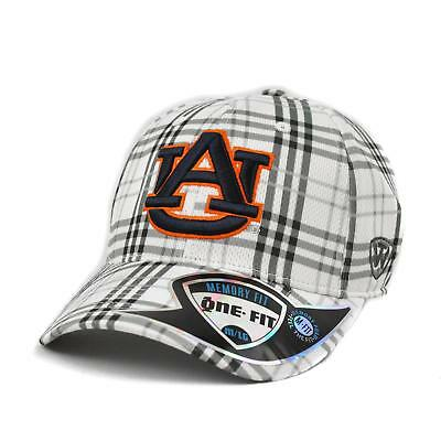 Auburn Tigers Top Of The World Flux Plaid Grey & White One Fit Flex Hat (Adult O