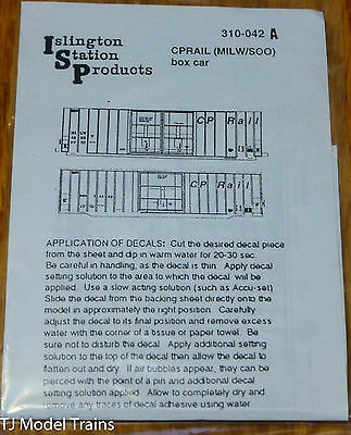 Islington Station Prodcuts #310-042A CPRail (MILW/SOO) Boxcar Decal