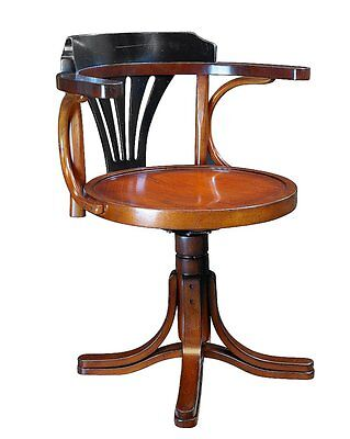 G709: Bugholz Writing desk Swivel Chair im Navy Style, Viennese Kontor Chair