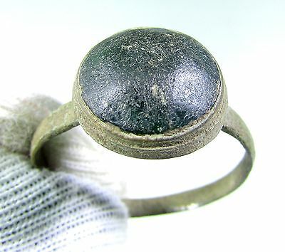 Lovely Tudor Period Bronze Ring With Blue Stone In Bezel - Wearable - Gh96