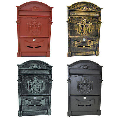 Metal Vintage Style Lockable Outdoor Wall Mail Red Letter Post Box Letterbox