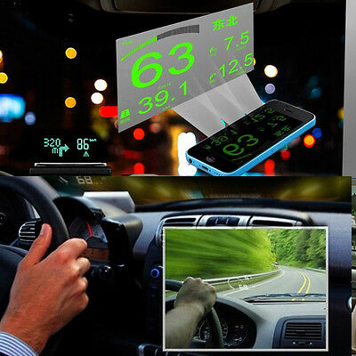 New HUD Projector Head Up Display System OBD II Reflective Film Screen Sticker