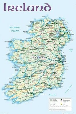 GEOGRAPHY POSTER ~ IRELAND ROAD MAP 24x36 Travel Belfast Dublin UK 0724
