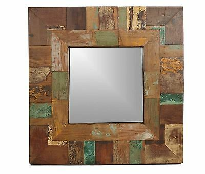 San Miguel Primitive Mirror-Old Wood-Rustic-Antique-27x27-Reclaimed-Repurposed