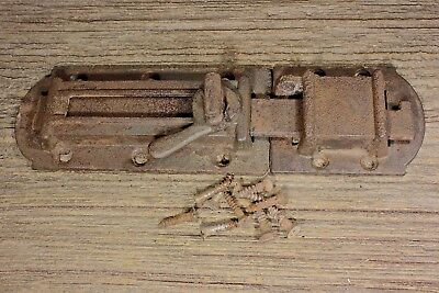 "1860's House Shutter Latch old rustic slide bolt 8 1/2"" vintage screws cast iron"