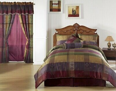 Chezmoi Collection 7pcs Moroccan Jacquard Patchwork Comforter Set, Cal King