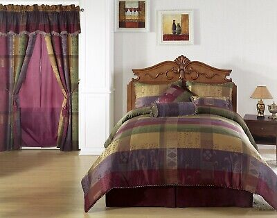 Chezmoi Collection 7pc Gitano Moroccan Jacquard Patchwork Comforter Set, King