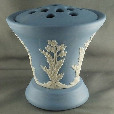 Vintage ECanada Art Blue Jasperware Flower Vase with Frog