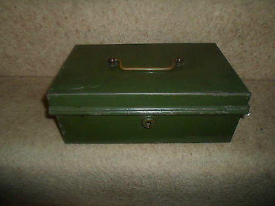 VINTAGE RETRO Quirky Old Green Cash Tin With Lift Out Coin Section - NO KEY