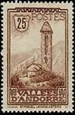"""ANDORRA FRENCH N° 31 """" CHAPELLE SAINT-MIGUEL ENGOLASTERS 25 C """" NEW xx TTB"""