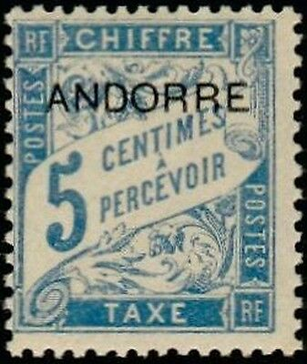 """ANDORRA FRENCH STAMP stamp TAX N° 1 """" stamp FROM 1893 5c """" NEW xx TTB"""