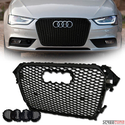 Euro Blk Rs-Honeycomb Mesh Front Bumper Grill Grille Cover Kit 13+ Audi A4 B8.5