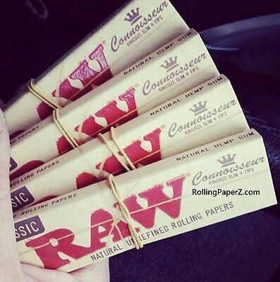 4X Packs of RAW King Size Slim CONNOISSEUR Cigarette Rolling Papers with TIPS