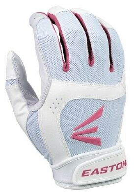 1 Pair Easton Stealth Core X-Large White / Pink Fastpitch Womens Batting Gloves