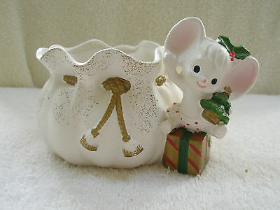Vintage Mouse and Sack Planter Napcoware Japan Tree Gift Holly