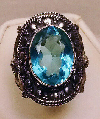 Gorgeous Huge Blue Topaz Custom Made Ring Antique Sterling Silver Setting