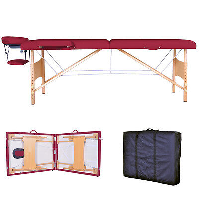 New Burgundy Portable Massage Table w/Free Carry Case T1 Chair Bed Spa Facial