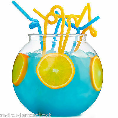 Andrew James 3 Litre Cocktail Serving Party Fish Bowl + 30 Extra Long Straws