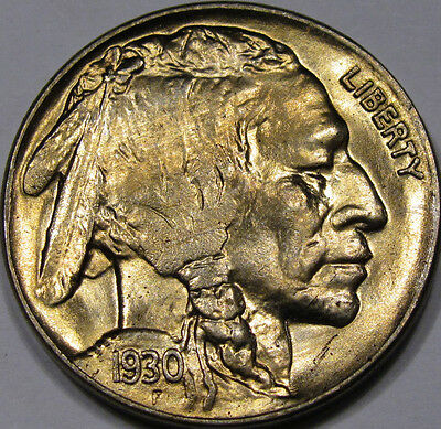 1930 Buffalo Nickel Gem BU+... A Super FLASHY Coin with Nice GOLDEN TONING!!