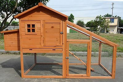 "New 75"" Large Wood Chicken Coop Backyard Hen House 4-6 Chickens with nesting box"