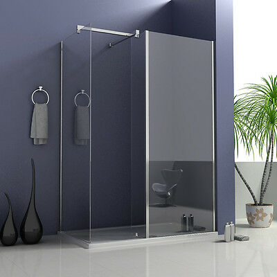 Wet Room Shower Enclosure Walk In Screen Cubicle Fixed Return Panel Stone Tray