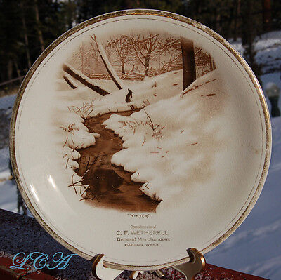 Beautiful CARSON WASHINGTON antique plate C.F. WETHERELL Mercantile Store