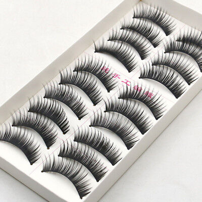 10 Pairs New Natural Makeup Handmade Women Soft Long False Eyelashes Eye Lashes