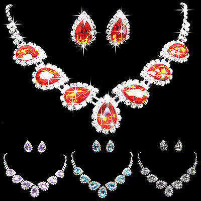 Prom Wedding Bridal Crystal Rhinestone Waterdrop Necklace Earring Jewelry Set