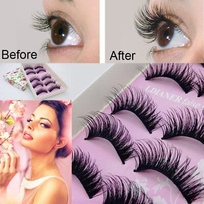 5 Pair Beauty Wispies Natural Long Thick Soft Fake False Eyelashes Handmade Hot