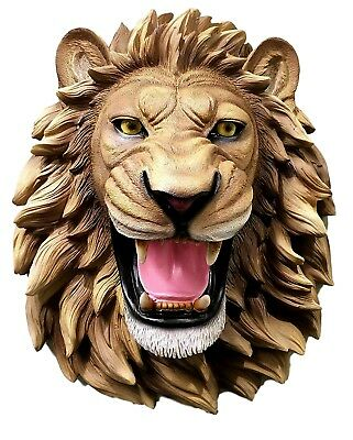 Large King Of The Jungle Roaring Lion Head Wall Mount Bust Sculpture Plaque
