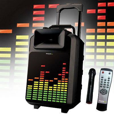 Sound LED Beschallungsanlage Box Karaoke Bluetooth USB SD Trolley Funk Mikro MP3