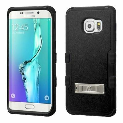 For Samsung GALAXY S6 EDGE + Plus Hybrid ShockProof Rubber Hard Case Cover BLACK