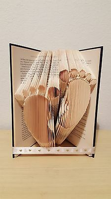 New Baby Boy Girl Handcrafted footprint folded book art Christening gift new mum