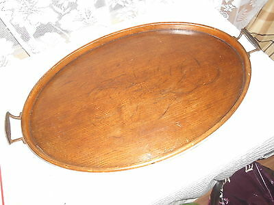 Vintage Circa 1930S Large Oval Bent Wood & Plywood  Butlers Tray For Restoration
