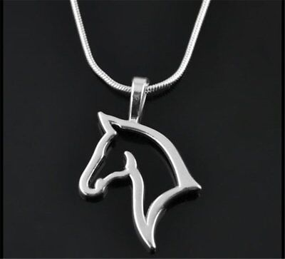 New Handmade Silver Tone Animal Horse Hollow Necklace Pendant Friends Women Gift