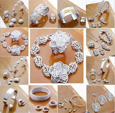 Wholesale jewelry solid 925SILVER necklace bracelet earring ring sets +box gift
