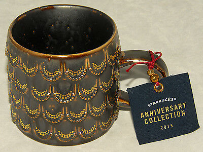 STARBUCKS - 2015 ANNIVERSARY SIREN Collection - Golden Scales COFFEE CUP MUG NEW