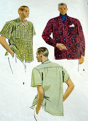 VTG 1940s MENS SHIRT Sewing Pattern SMALL CHEST 34-36