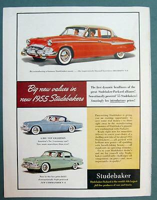 1955 Studebaker Car Ad Featuring the New President, Champion & Commander Models